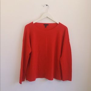 Eileen fisher Solid coral red merino wool sweater
